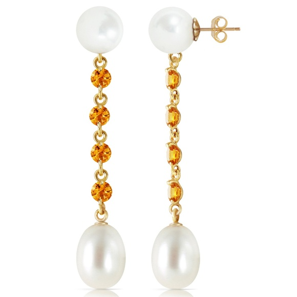 Galaxy Gold Products Jewelry - CHANDELIERS EARRINGS WITH CITRINES & PEARLS